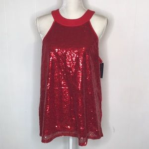 Nobo Sequin Top Sz XL NWT Red Glitter High Neck